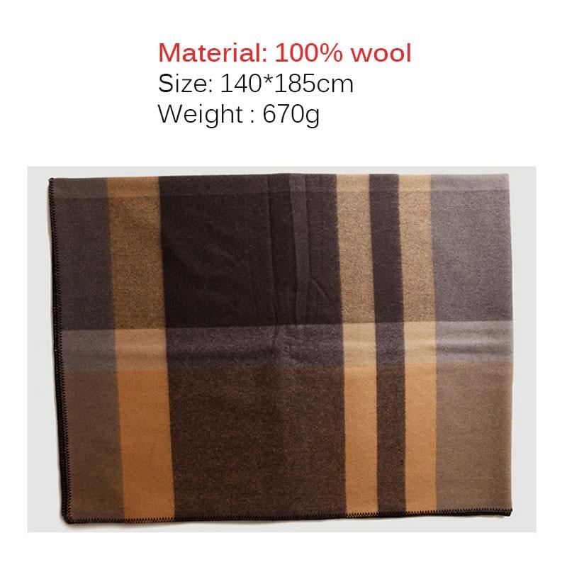 Чистое 100% шерстяное Клетчатое одеяло утяжеленное плотное высококачественное одеяло для пикника и путешествий Клетчатое одеяло с узором для кровати и дивана - 6