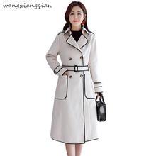Women's Woolen coat long section Korean version the new slim slimming temperament autumn winter models woolen coat female A485 недорого