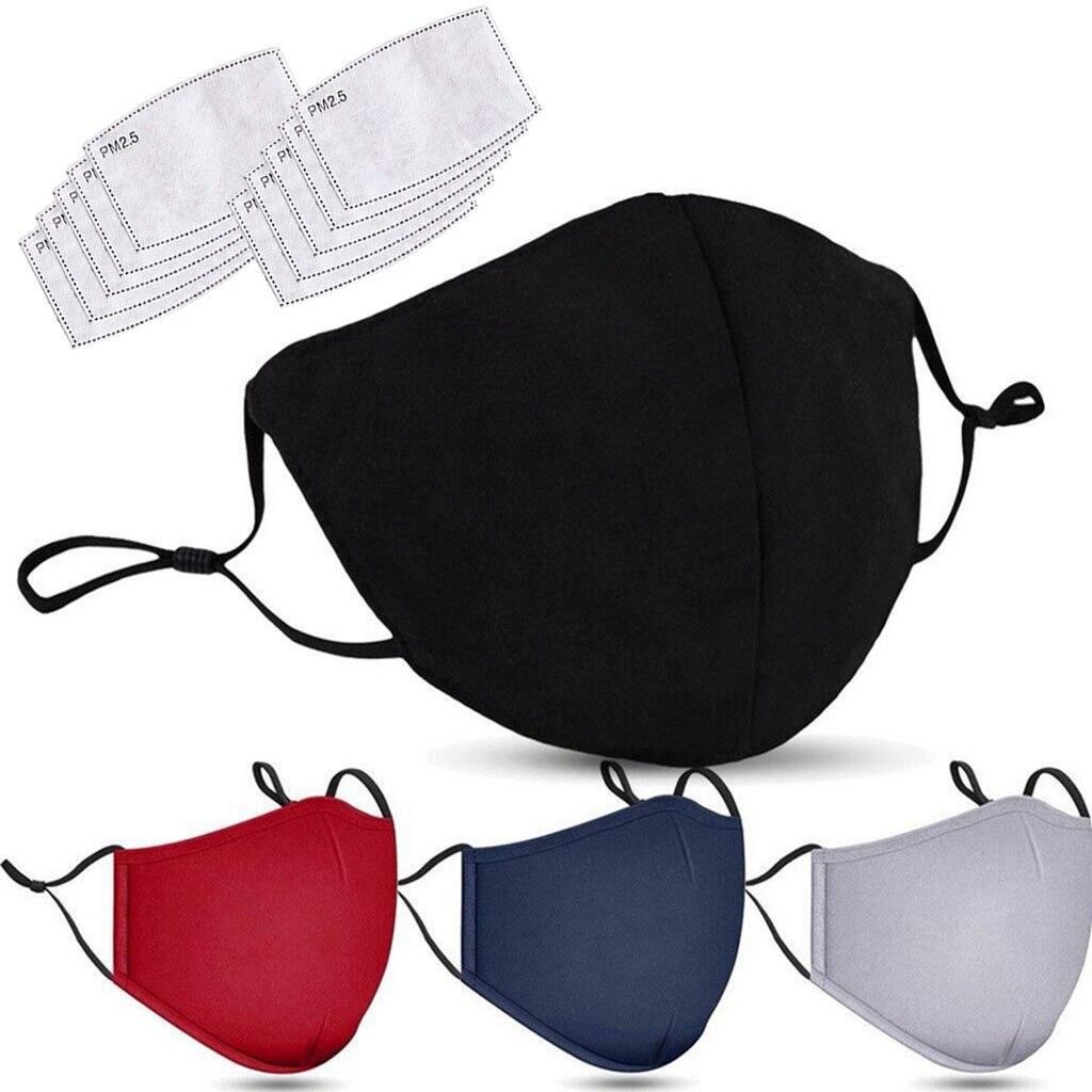 Máscaras + filtros lavable negro máscara boca cara Mascarilla Anti PM2.5 polvo máscara de boca activado máscara de filtro de carbono de tela de algodón de la máscara