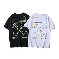 2019 New Style Summer Color Sketch Lines Box Pure Cotton Short sleeved round Collar T shirt Teenager Base Shirt Half Sleeve