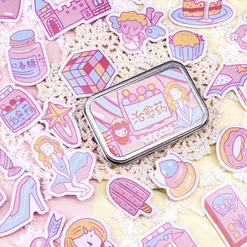 60Pcs/Box Kawaii Stationery Sticker Cute Milk Decorative Sticker Mermaid Paper Adhesive Sticker For Kids DIY Diary Scrapbooking