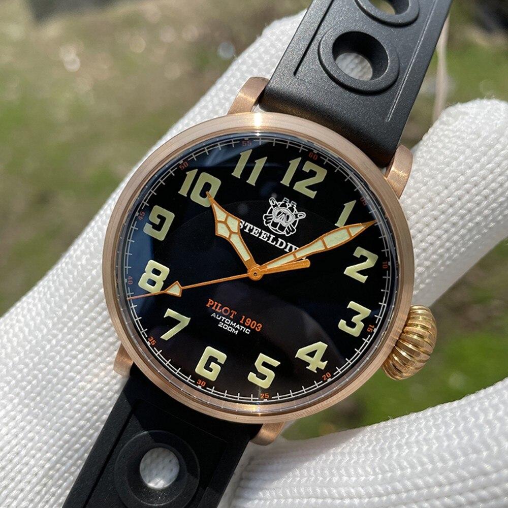 estilo simples mecânico relógios masculinos luminosa 200m