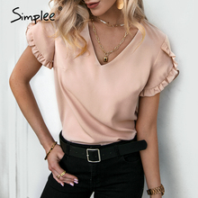 Summer Women T-Shirt Short Light-Apricot Simplee Casual Solid Chiffon Top Vneck Ruffled