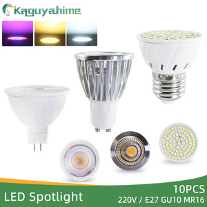 Kaguyahime 10Pcs LED E27 Gu10 Mr16 Bulb Spotlight Grow Light AC 220V LED Lamp 3W 4W Lampada Spot LED Spotlight Home Lighting