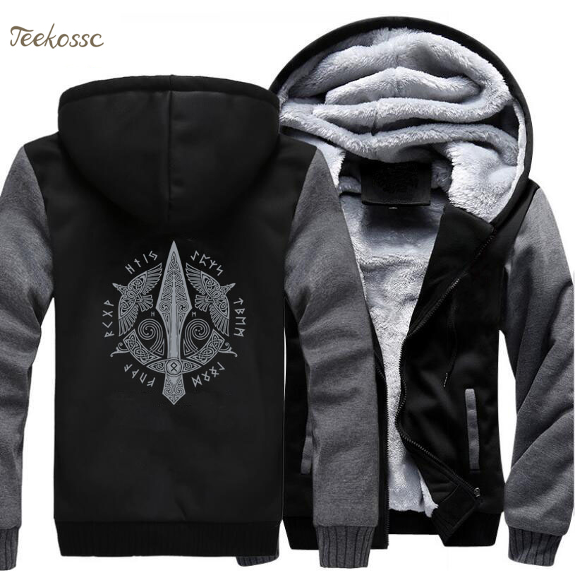 Odin Vikings Hoodie Men Jacket Viking Valhalla Berserker Winter Thick Fleece Hooded Sweatshirt Athelstan Coat Sportswear 5XL
