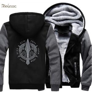 Image 1 - Odin Vikings Hoodie Men Viking Berserker Stylish Jacket 2018 Winter Brand Warm Fleece Hip Hop Hooded Sweatshirt Coat Homme 5XL
