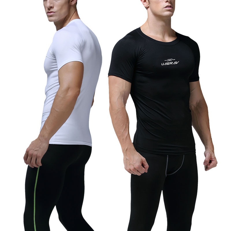 Men/'s Sports Compression Shirt Athletic Workout Tee Short Sleeve O-Neck Dri fit