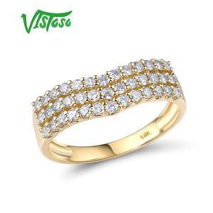 VISTOSO Pure 14K 585 pierścionek z żółtego złota dla kobiet musujące diament obietnica klasyczny pierścionek zaręczynowy przyjęcie rocznicowe Fine Jewelry
