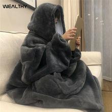 Inverno feminino hoodies cobertor com manga quente velo com capuz de bolso cobertores com capuz macio hoodie slant robe roupão moletom pulôver