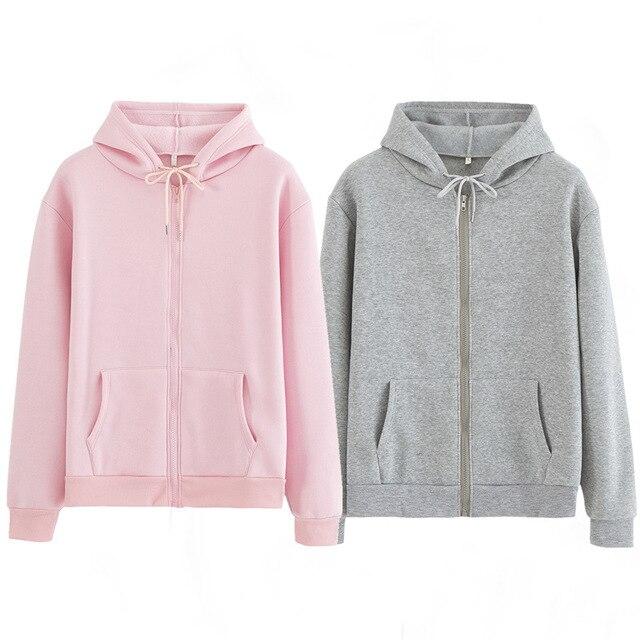 Women Sweatshirt Casual Solid Colors Oversized Full Zip-Up Hoodies Jacket 2020 Winter Velvet Thickening Warm Tops Long Sleeve 1