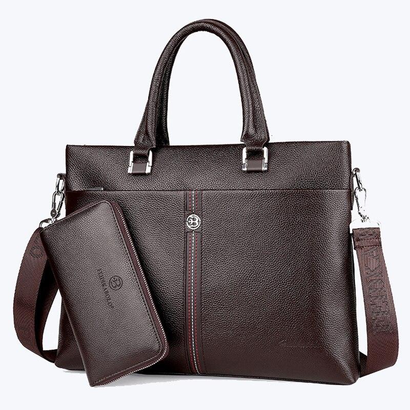 Men Natural Cowhide Business Briefcase Bag Men's Crossbody Bags Genuine Leather Handbags Male Handbag Set Sac Homme Bolso Hombre