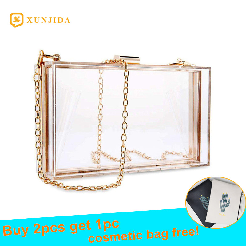 XUNJIDA 2020 NEW Women Acrylic Clear Bag Purse Cute Transparent Crossbody Bag Women Handbags Party Wedding Evening Clutch