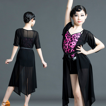 New Kids Latin Dance Dress Robe and Bodysuit Pink Leopard Summer Salsa Rumba Tango Dance Wear Performance Girls Latin Dress 1670