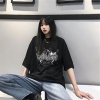 Summer Korean style INS Harajuku BF Style Street Funeral of Retro Dark Loose Casual Students Short Sleeve T shirt Tops Fashion