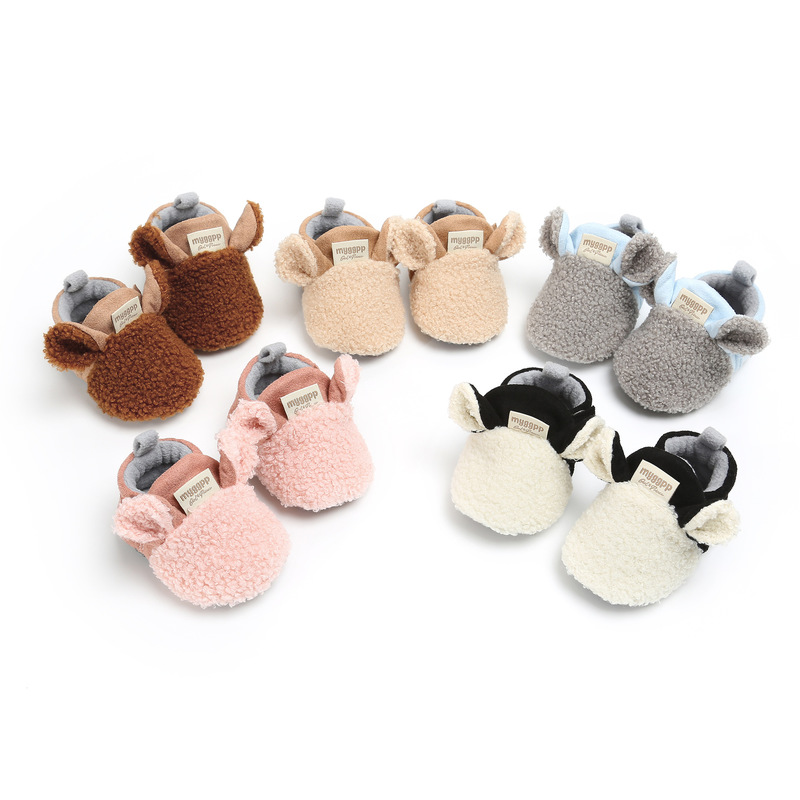 Baby Socks Shoes Boy Girl Booties Winter Warm Sheep Ear Crawl Toddler Prewalkers Cotton Soft Anti-slip Infant Newborn Crib Shoes