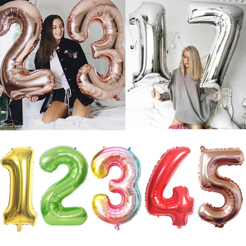 32'' 40'' Big Number Foil Balloons Figure Digit Happy Birthday Party Wedding Decoration Kids Toy Helium Globos Wholesale Balloon image