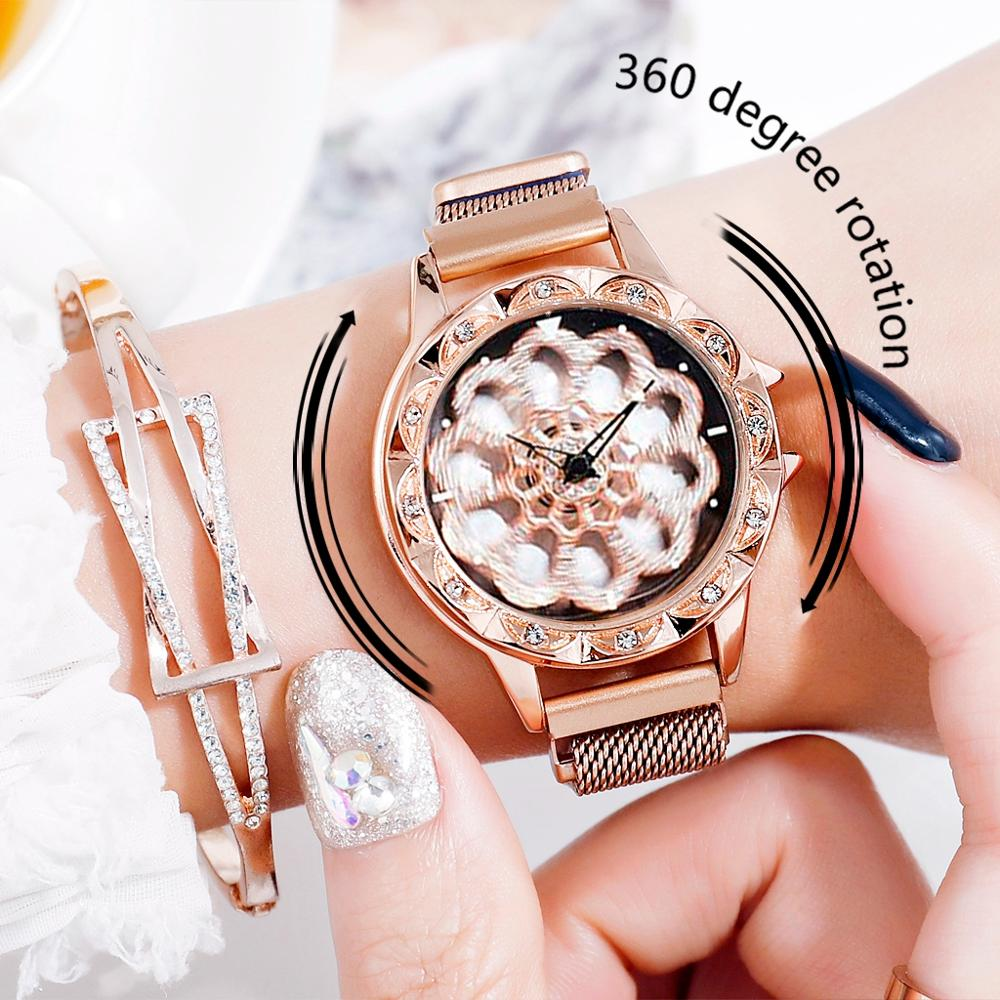 360 Degree Rotation Women Mesh Magnet Buckle Starry Sky Watch Luxury Fashion Ladies Geometric Quartz Watch Relogio Feminino Gift