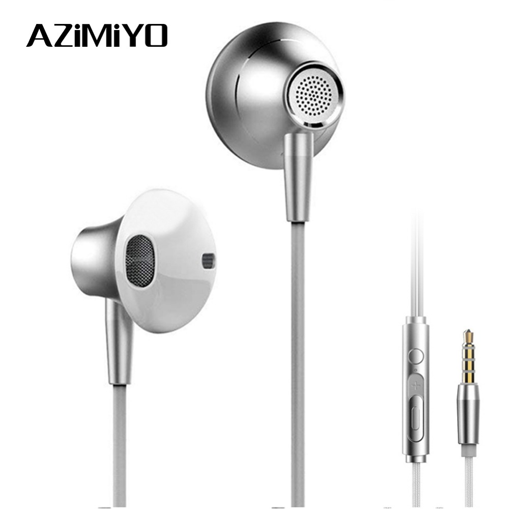 AZiMiYO Metal Stereo Bass earphone with Micophone for Phone Wired Music earphones for Phones Huawei iphone ear phone