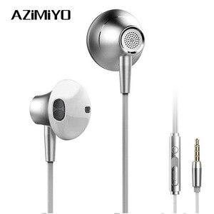Image 1 - AZiMiYO Metal Stereo Bass earphone with Micophone for Phone Wired Music earphones for Phones Huawei iphone ear phone