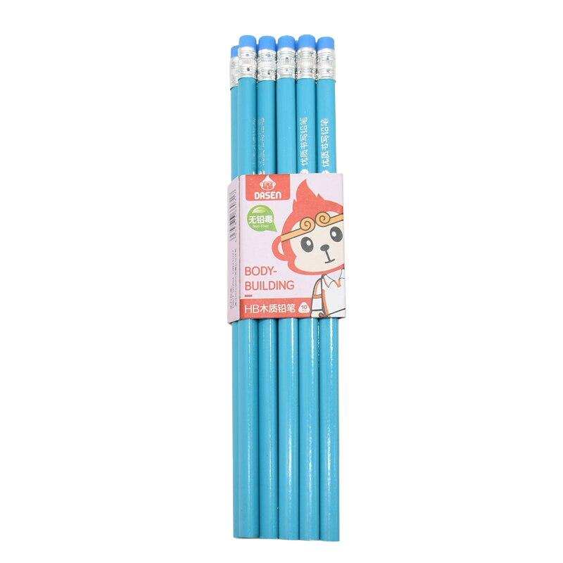 Image 5 - 100 шт Классический Новый Одноцветный бревенчатый карандаш с резиновым креплением HB пишущий карандаш для обучения рисованию канцелярские товарыПростые карандаши    АлиЭкспресс