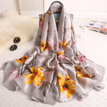 Women Floral Scarf New Fashion Rayon Bufanda Mujer Autumn Shawls for Ladies Luxury Brand Ponchos and Capes Silk Head Long