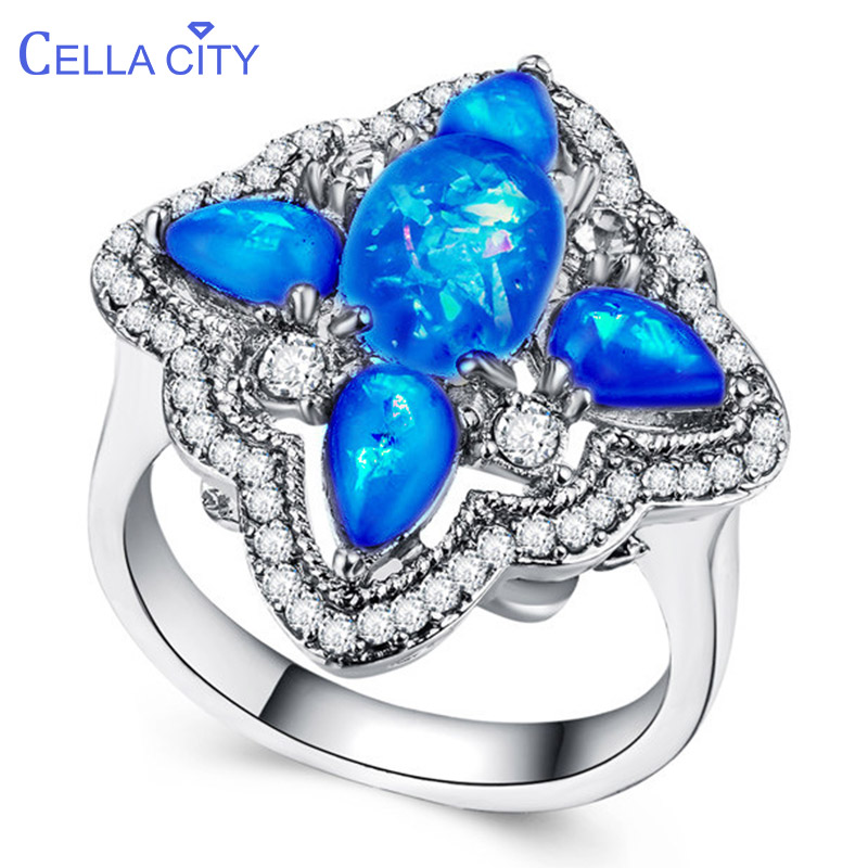 Cellacity Classic 925 Silver Ring For Women With Blue Opal Gemstone Silver Fine Jewelry Women Party Gift Wholesale Size 6-10