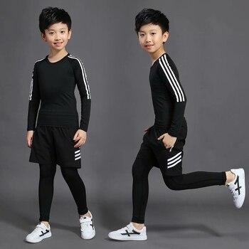 3 комплекта детских компрессионных костюмов термобелье футбольный тренировочный костюм спортивные шорты, колготки, футболка детская одежд...