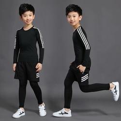 3 conjuntos de compressão terno underwear térmico das crianças fato de treino de futebol esportes shorts calças justas T-shirt roupas para crianças