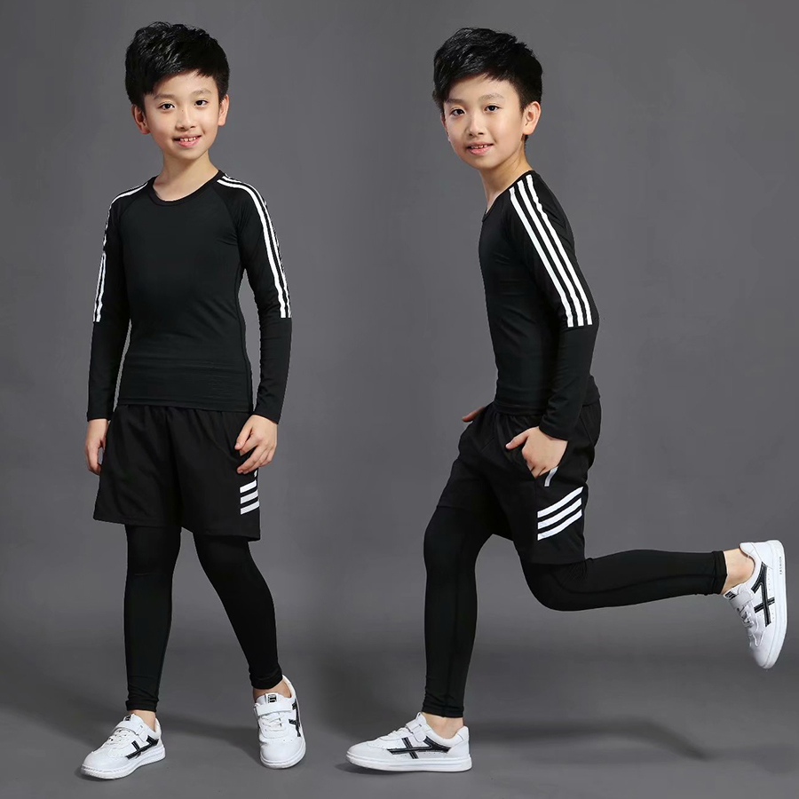 3 Sets Of Children's Compression Suit Thermal Underwear Football Training Suit Sports Shorts Tights T-shirt Children's Clothing