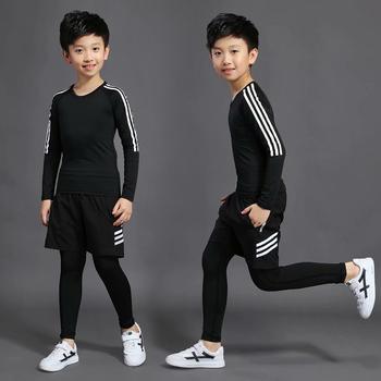 3 zestawy dziecięcy strój kompresyjny bielizna termiczna piłkarski strój treningowy spodenki sportowe rajstopy T-Shirt odzież dziecięca tanie i dobre opinie BAOGEYANG CN (pochodzenie) Chłopcy Pasuje prawda na wymiar weź swój normalny rozmiar Stałe Szybkie suche BJ1013+1014