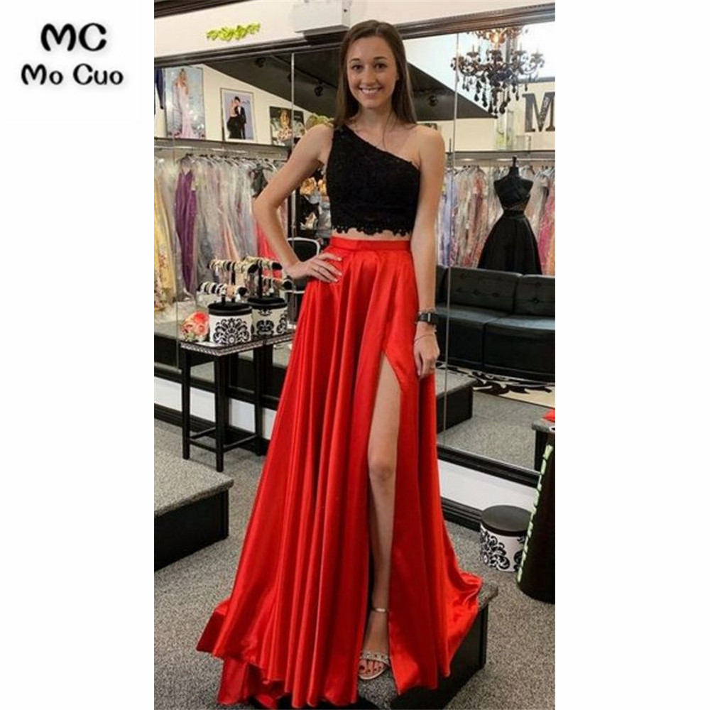 Two Pieces Gown One Shoulder   Prom     dress   Evening Gown with Lace Satin Vestido de festa A-Line Women   prom     dresses   Custom Made