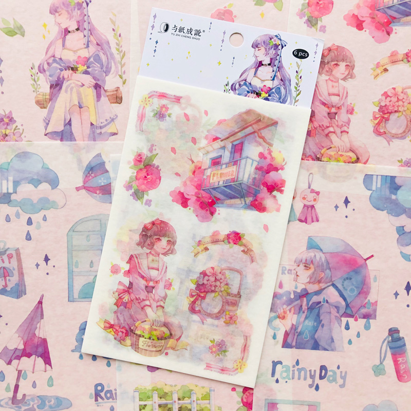 6 Sheets Princess Girls & Flowers Suitcase Paper Sticker Adhesive Stick Label
