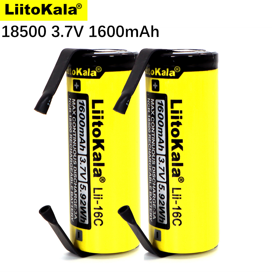 2020 LiitoKala Lii-16C 18500 1600mAh 3.7 V batterie rechargeable Recarregavel lithium ion batterie pour lampe de poche LED + bricolage Nickel