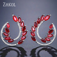 ZAKOL Fashion Blue Cubic Zirconia Crystal Stud Earrings for Women Trendy Leaf Bridal Wedding Jewelry FSEP2149