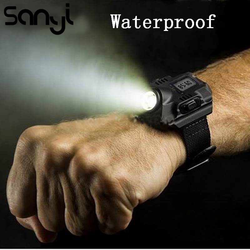 XPE R2 LED Wrist Watch Flashlight Torch Waterproof Running Watch Tactical Watch Lighting With Time LED Display Built-in Battery