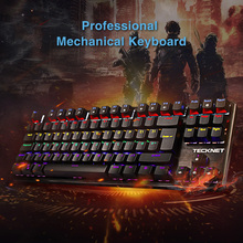 TeckNet Rainbow Backlit Mechanical Keyboard Backlit Switch Gaming Keyboards 88 Keys for Gamers Computer Game Keyboards metal kiosk keyboard with touchpad stainless steel keyboards weatherproof keypads industrial keyboards ruggedized keyboards