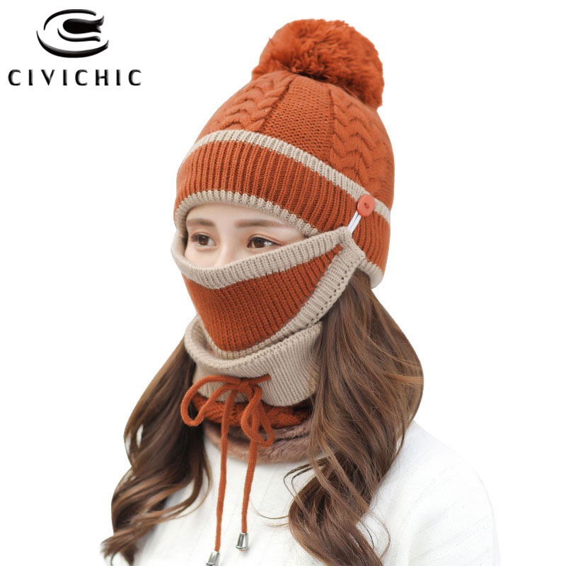 Chic Women Winter Warm Set Knit Scarf Hat Gloves Mask 4 PCS Pompon Skullies Beanies Fleece Headwear Crochet Neck Warmer SH128