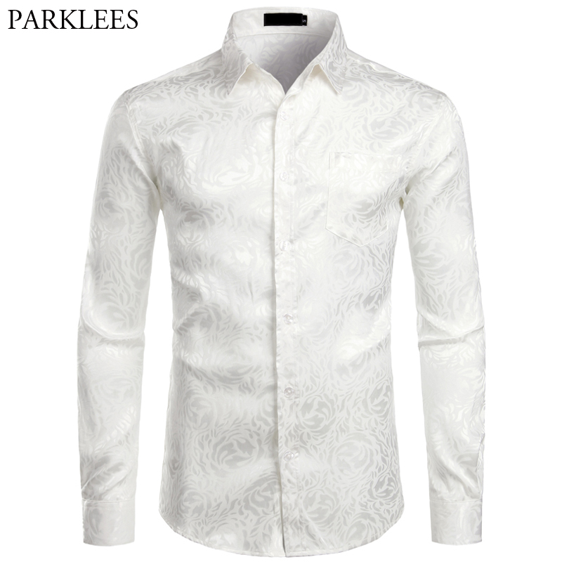 Floral White Men Shirt Long Sleeve Fashion Comfortable Men Dress Shirts Wedding Party Button Up Shirt Mens Daily Streetwear Male