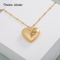 Timeless Wonder Rare Zirconia Locket Heart Long Chain Pendant Necklace Women Jewelry Punk Gothic Vintage Gold Boho Sweet 4576