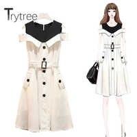 Trytree 2020 летнее женское Повседневное платье лоскутное без рукавов с круглым вырезом имитация двух частей ремень белое платье ТРАПЕЦИЕВИДНОЕ...