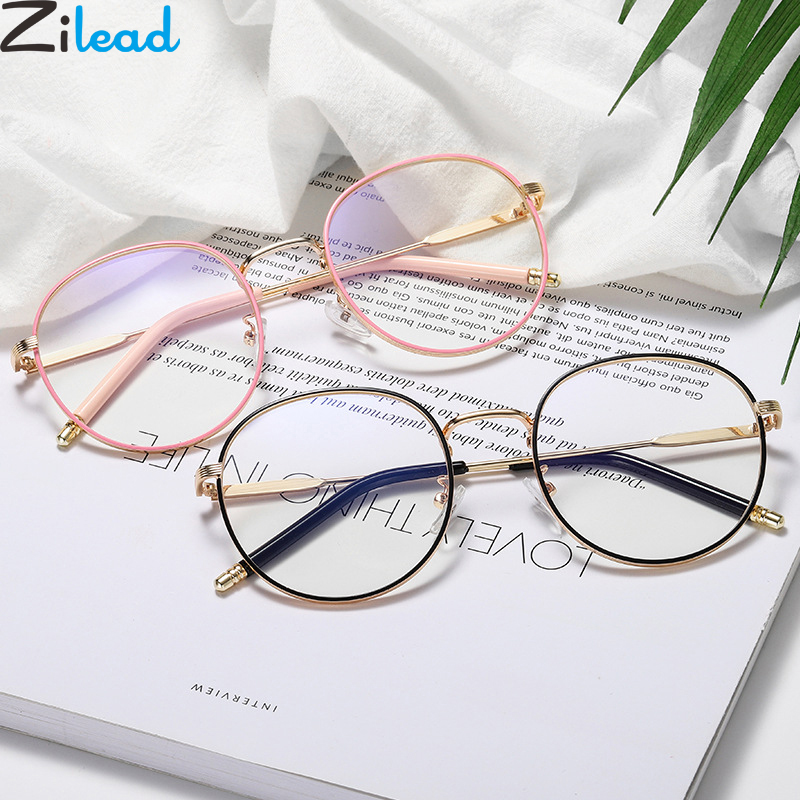 Zilead Retro Anti Blue Light Glasses Frame Metal Round Optical Sepectacles Plain Eyeglasses Eyewear For Men Women Unisex