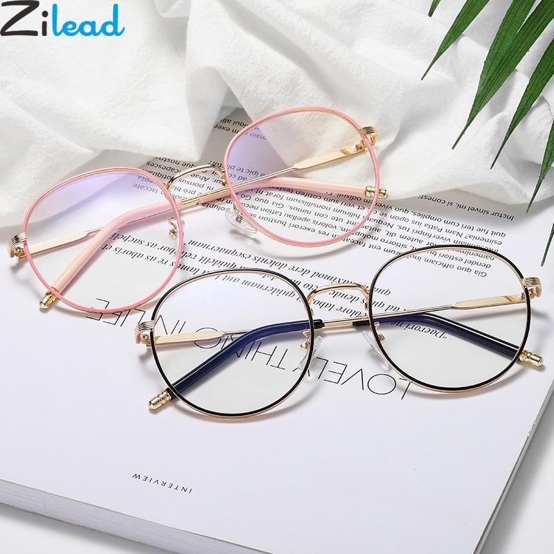 Zilead Retro Anti Blue Light Glasses Frame Metal Round Optical Sepectacles Plain Eyeglasses Eyewear For Men Women Unisex