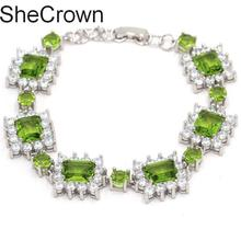 30x16mm Hot Sell Green Peridot White CZ Woman's Wedding Bracelet 7.0-8.0in