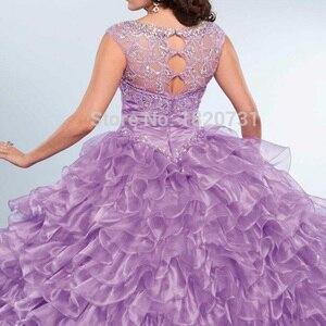 Image 2 - Vestido de baile morado claro para quinceañera, plisado, con cuentas de diamantes de imitación, 16 años