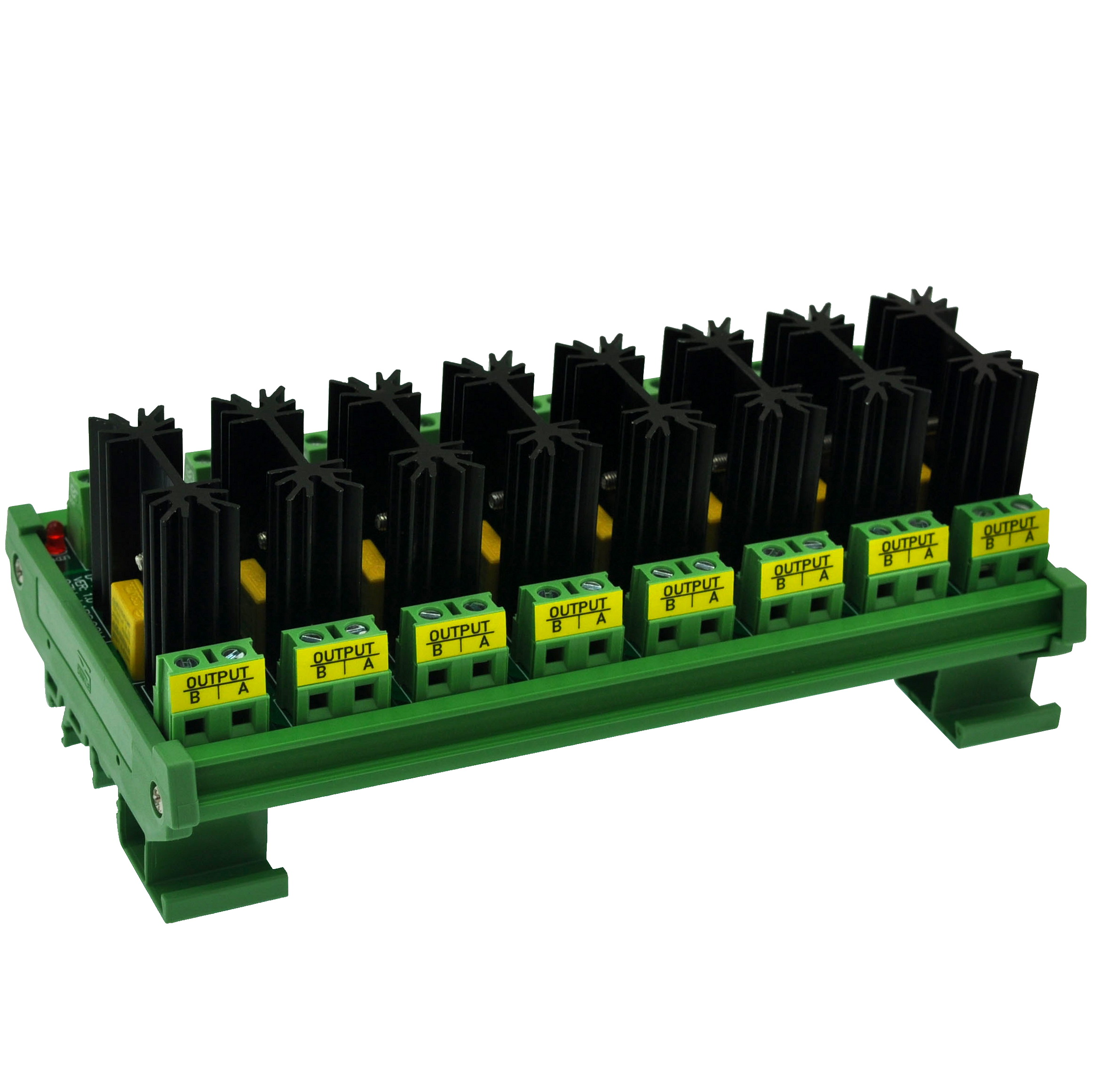 CZH-LABS DIN Rail Mount 8 Amp Solid State Relay SSR Module, In 4~32VDC, Out 100~240VAC. (8 Channels)
