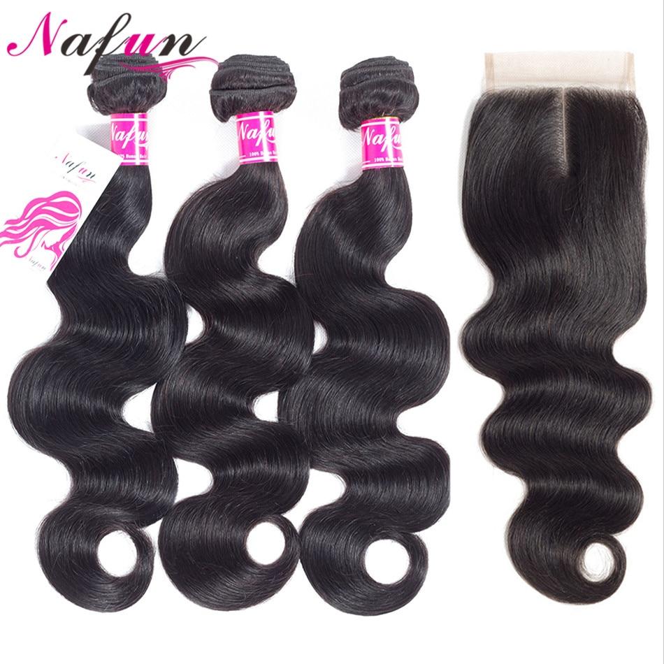 Nafun Hair Body Wave 3 Bundles With Closure Brazilian Human Hair Bundles With Lace Closure Non-Remy Human Hair Extension