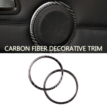 For BMW E90 320i 325i E84 X1 Accessories Carbon Fiber Car door Speaker Decorative Circle Sticker Loudspeaker Trim Car Styling image