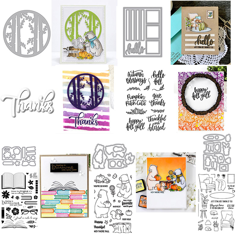 Card Front Builder Forest Fall Sences Blessings Thanks Cutting Dies Stamps for DIY Scrapbooking Crafts Cards Making New 2020 Die| |   - AliExpress