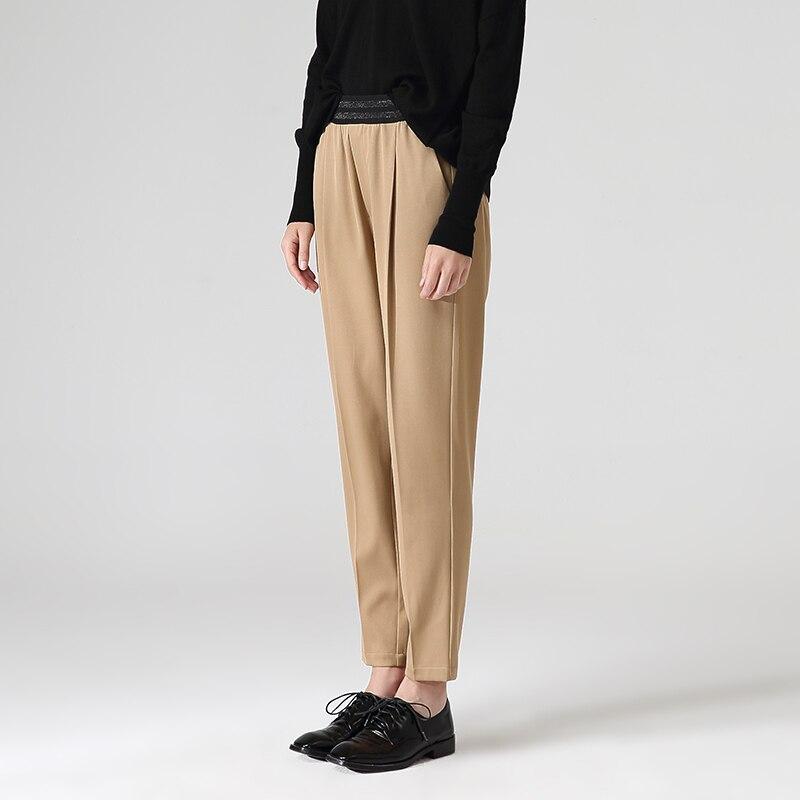 Toyouth Women Casual Ankle-Length Harem Pants Autumn Loose Elastic Waist Black Pants