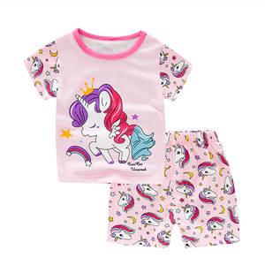 SAILEROAD Unicorn Pajamas Sleepwear Short-Sleeve Girls Cotton Kids Children's Summer